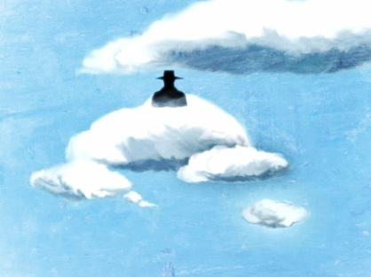 Painting of a hatted boy on a cloud.