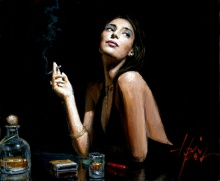 woman at bar fabian Perez