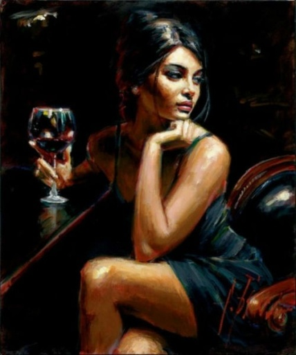 woman at bar painting by Fabian Perez