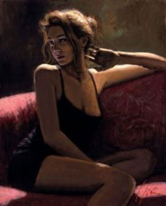 woman on couch painting by fabian perez