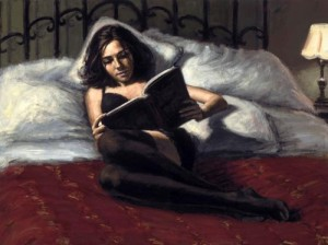 woman reading in bed painting by fabian perez