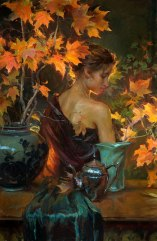 daniel gerhartz painting woman autumn leafs