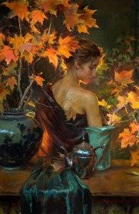 daniel gerhartz painting woman autumn leafs
