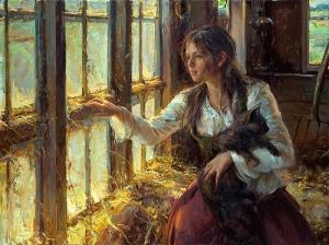 girl with cat painting daniel gerhartz