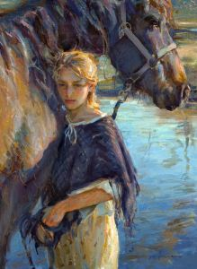 woman and horse painting daniel gerhartz