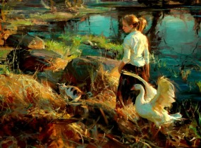 woman and swan painting daniel gerhartz