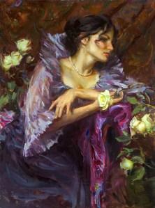 woman in fancy dress painting by Daniel F. Gerhartz