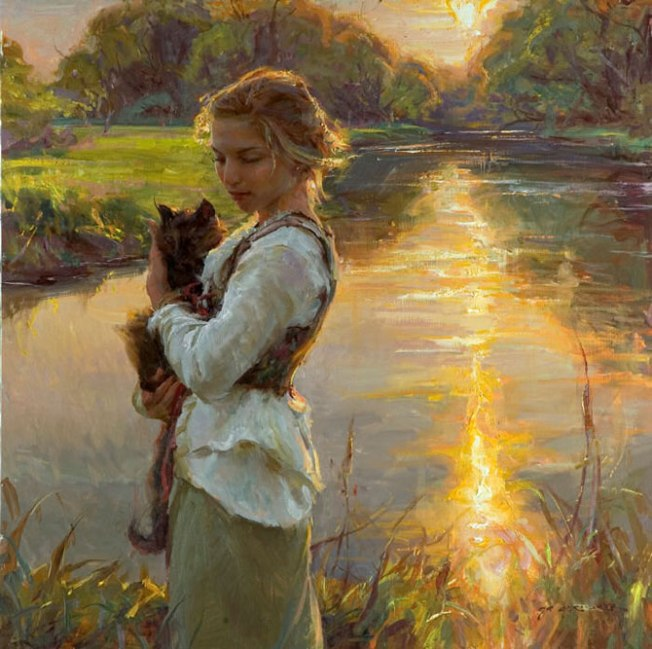 woman with cat painting by daniel gerhartz