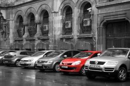 Red car in Bucharest