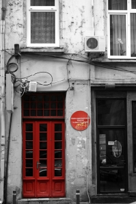 Red door in Bucharest