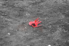 Fallen red chair