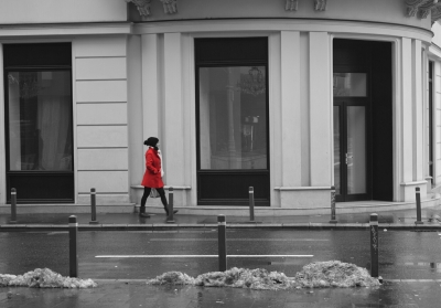 Girl in red walking on the street 1