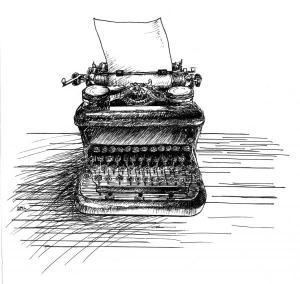drawing of a typewriter