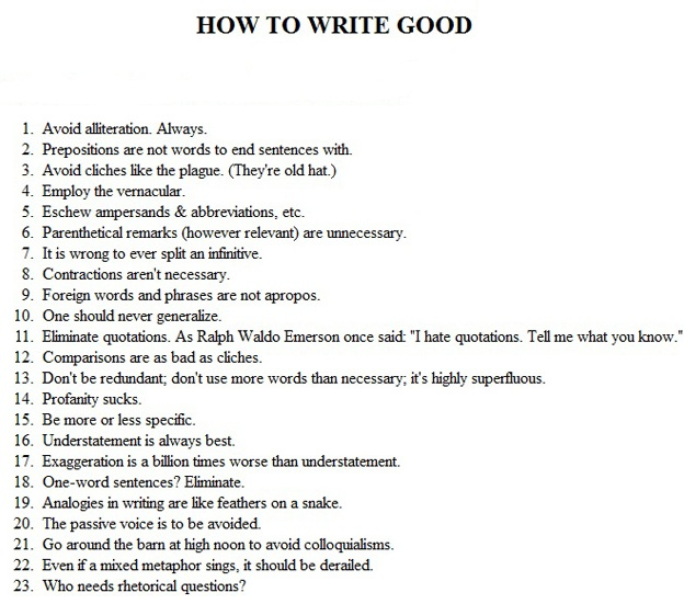How to write a good writing