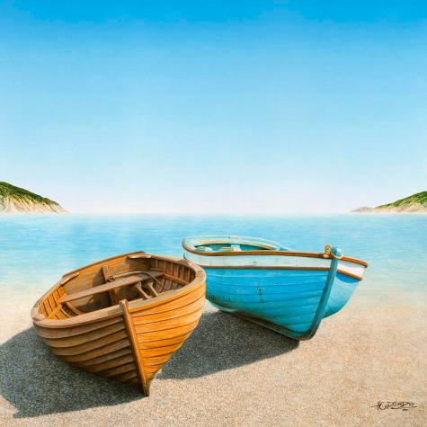 Two Boats On The Beach Painting by Horacio Cardozo