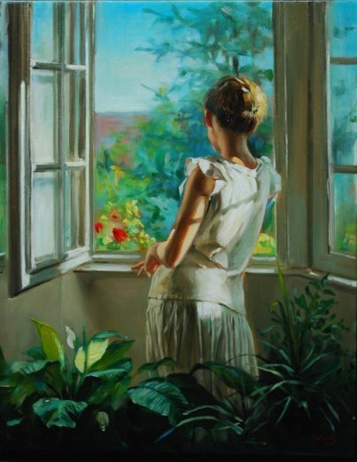 Woman at the window painting Laszlo Gulyas