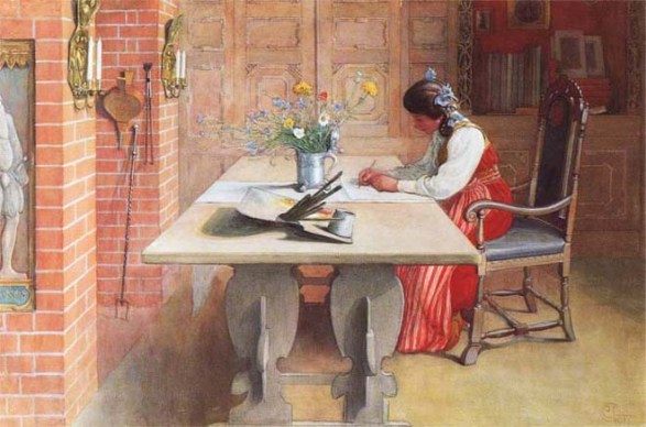 woman writing painting
