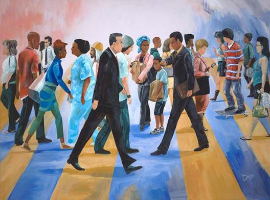 painting people street walking keith doles