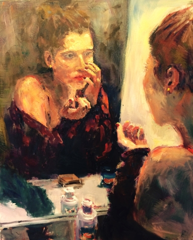 Painting woman mirror Nikki Basch-Davis