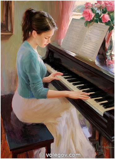 girl playing piano painting volegov