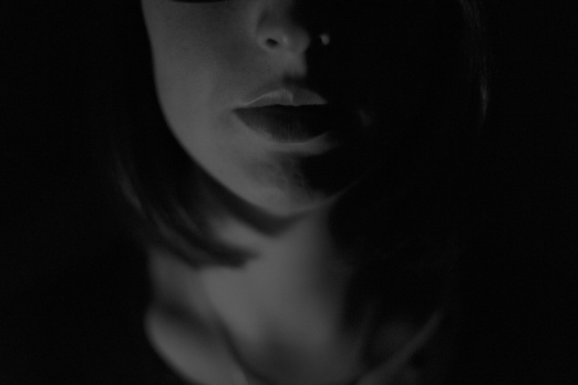 woman black and white lips