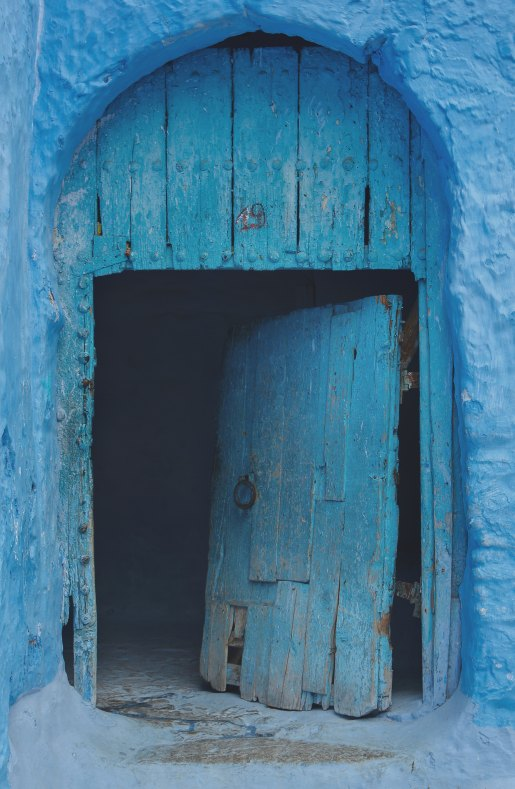 door opening blue wood