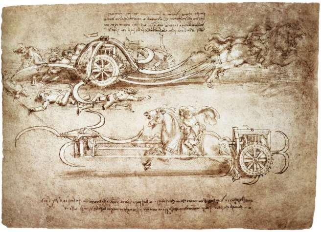 da vinci drawing scythed chariot