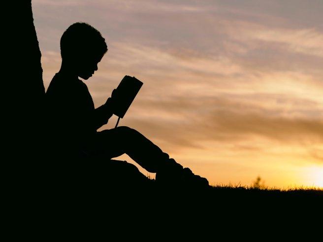Boy reading book sunset