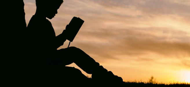 Boy reading book sunset