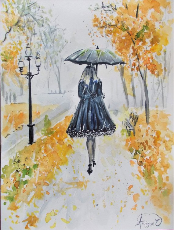 Woman walking in autumn original watercolor painting