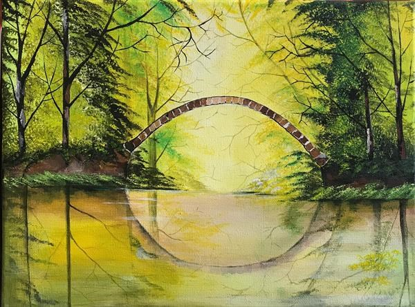 Painting of greenery and bridge by Rizna Munsif