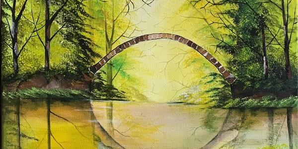Painting of greenery and bridge by Rizna Munsif