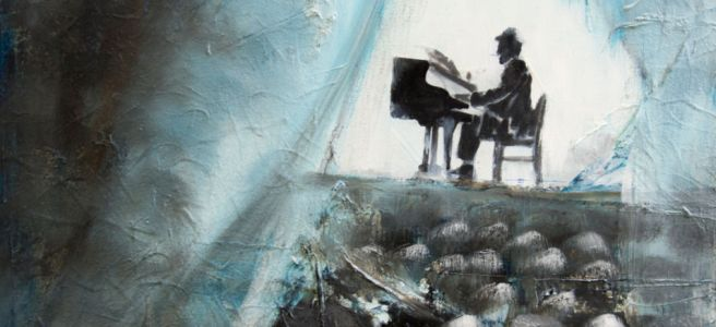 Man playing the piano in solitude