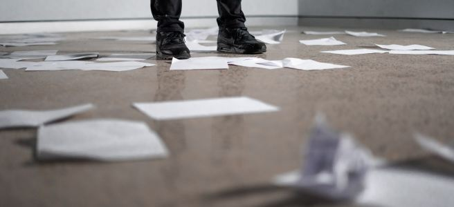 Papers lying on the floor