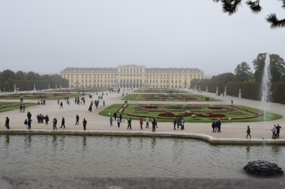 The Schonbrunn seen from behind the fountain