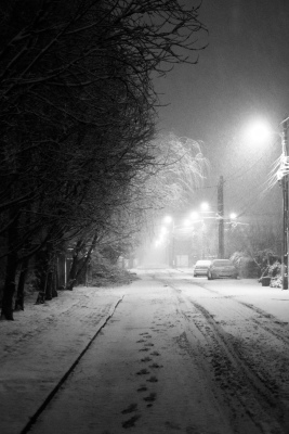 tracks and footsteps on the ground on snow-burried street with bare trees on the left, tall street lights on the right and snowy cars in the background
