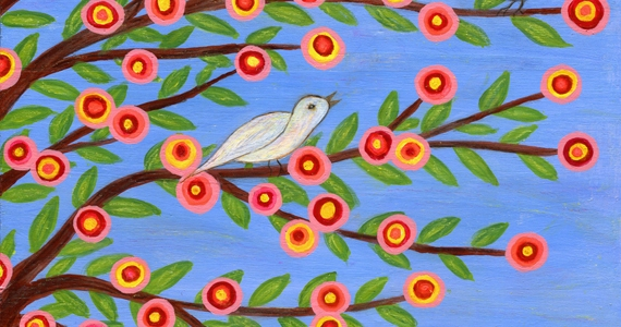 Spring Morning Original Painting Art by Sascalia ( Birds in a tree)