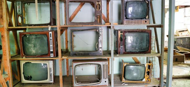 broken TV frames in chernobyl