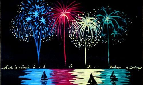 new year fireworks painting