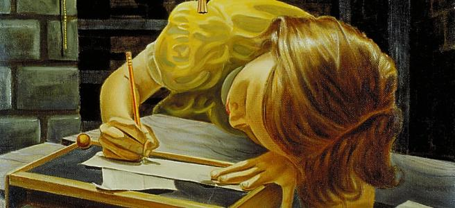 Girl Writing Painting by Robert Tracy