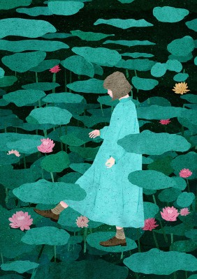 girl stepping on lotus flowers magical illustration xuan loc xuan