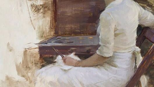 Painting of a girl in white turned with her back to us writing at a desk