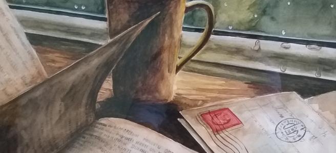 coffee books and postcards on rainy windowsill