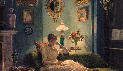 woman reading in the evening in darkly lit room painting