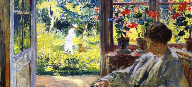 Painting of a woman reading by an open door with flowers and greenery in the background