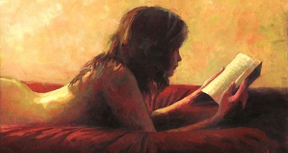 Woman reading in red bed against yellow background painting by Christopher Clark