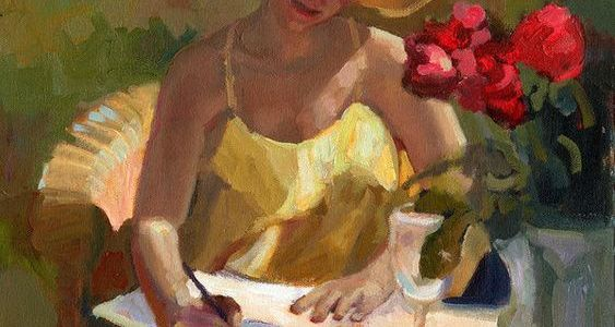 Painting of woman at table with hat and fruit basket writing