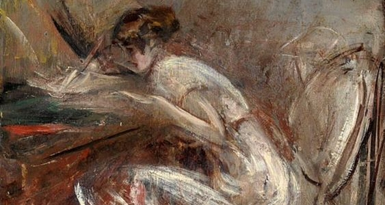 Woman writing painting loose brushstrokes by Giovanni Boldini