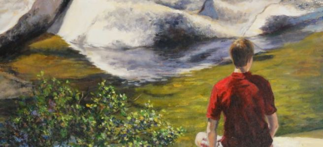 young man sitting in nature painting